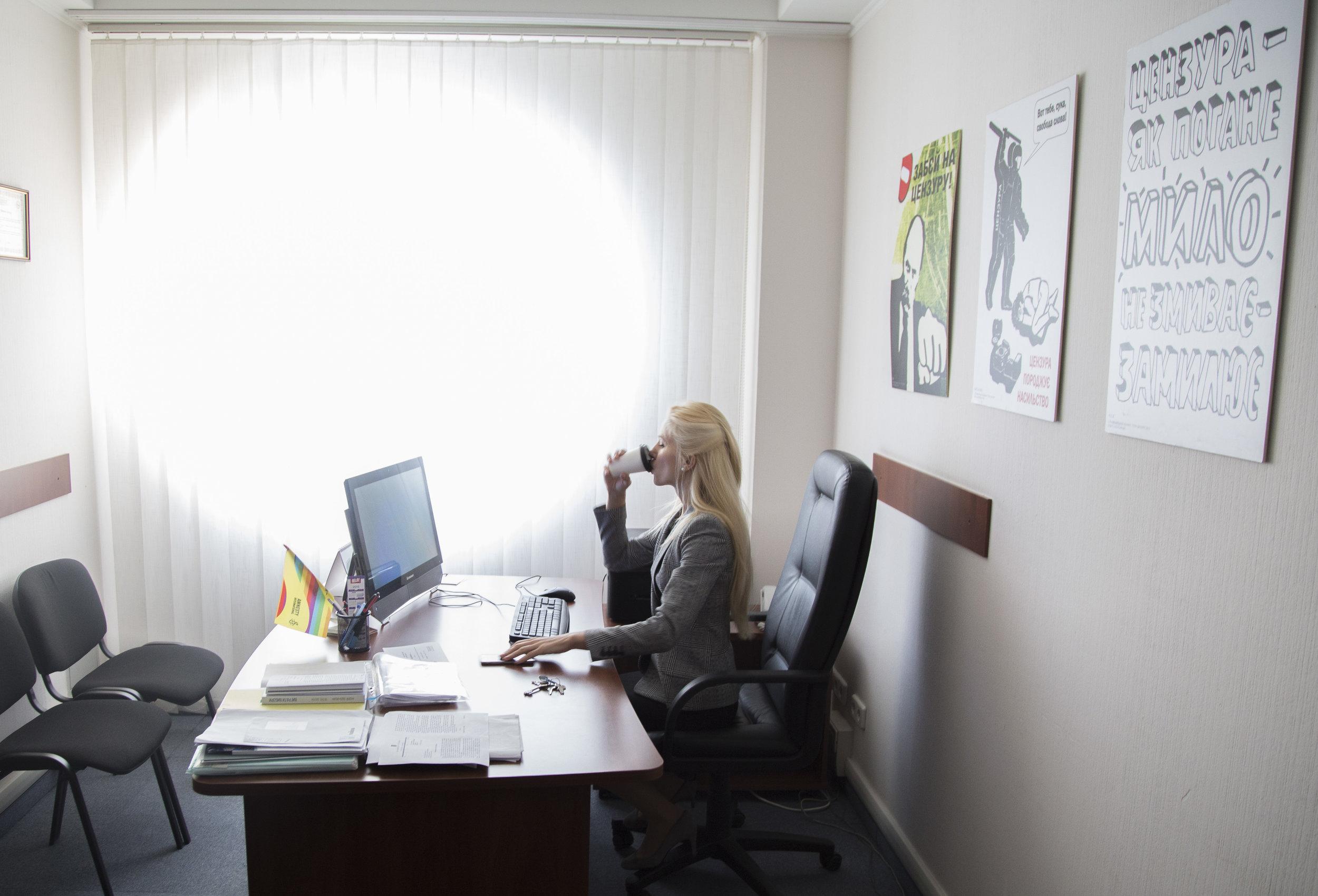 Svitlana Zalishchuk, a member of Ukraine's national parliament, in her office in Kiev.
