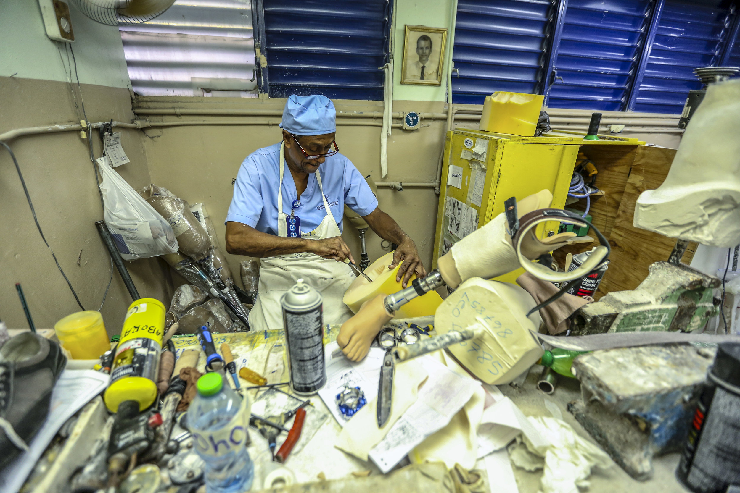 Manufacturing prosthetics at a Physicians for Peace sponsored clinic in The Dominican Republic.