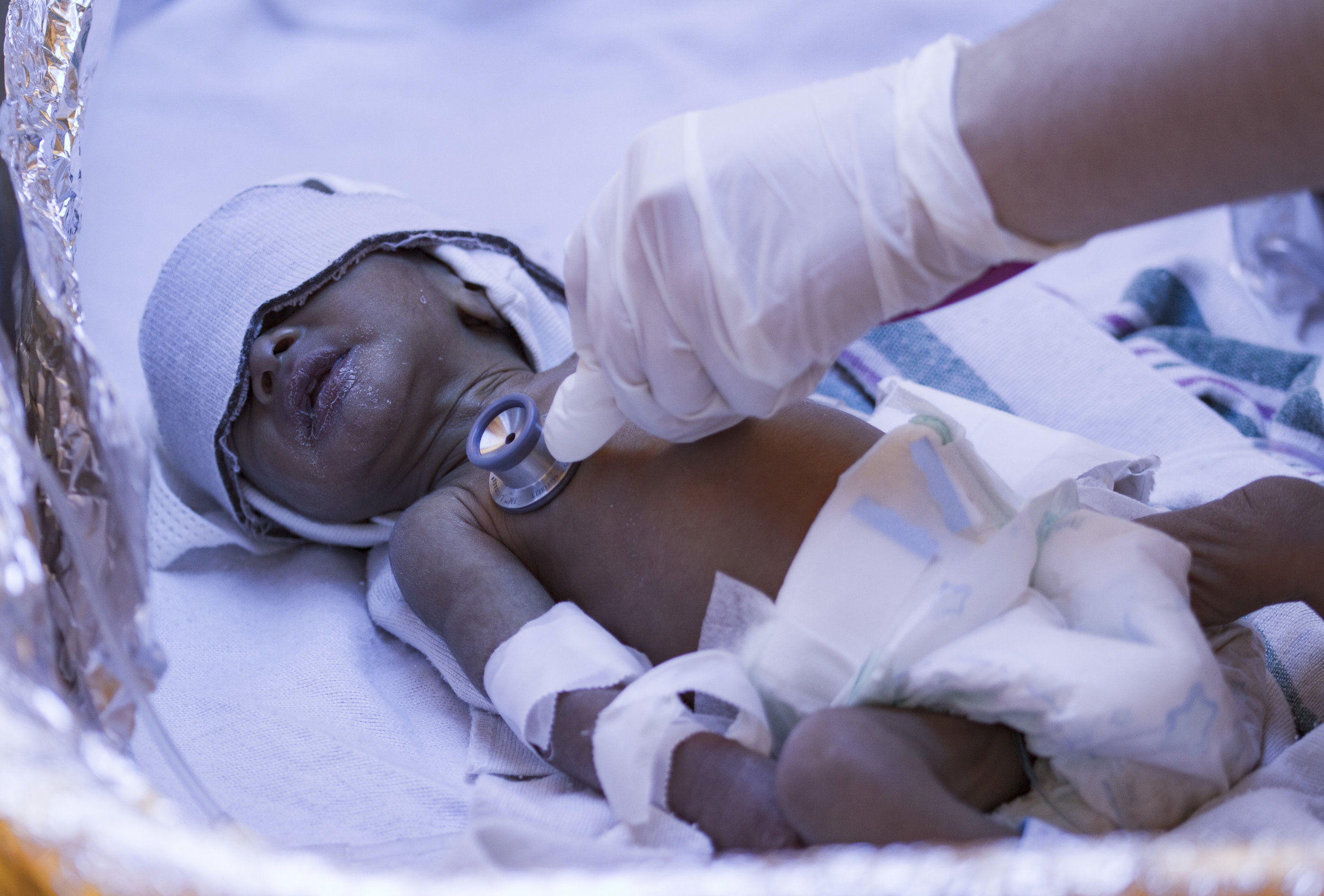 A baby is monitored at a Physician's for Peace sponsored neonatal intensive-care unit in The Dominican Republic.