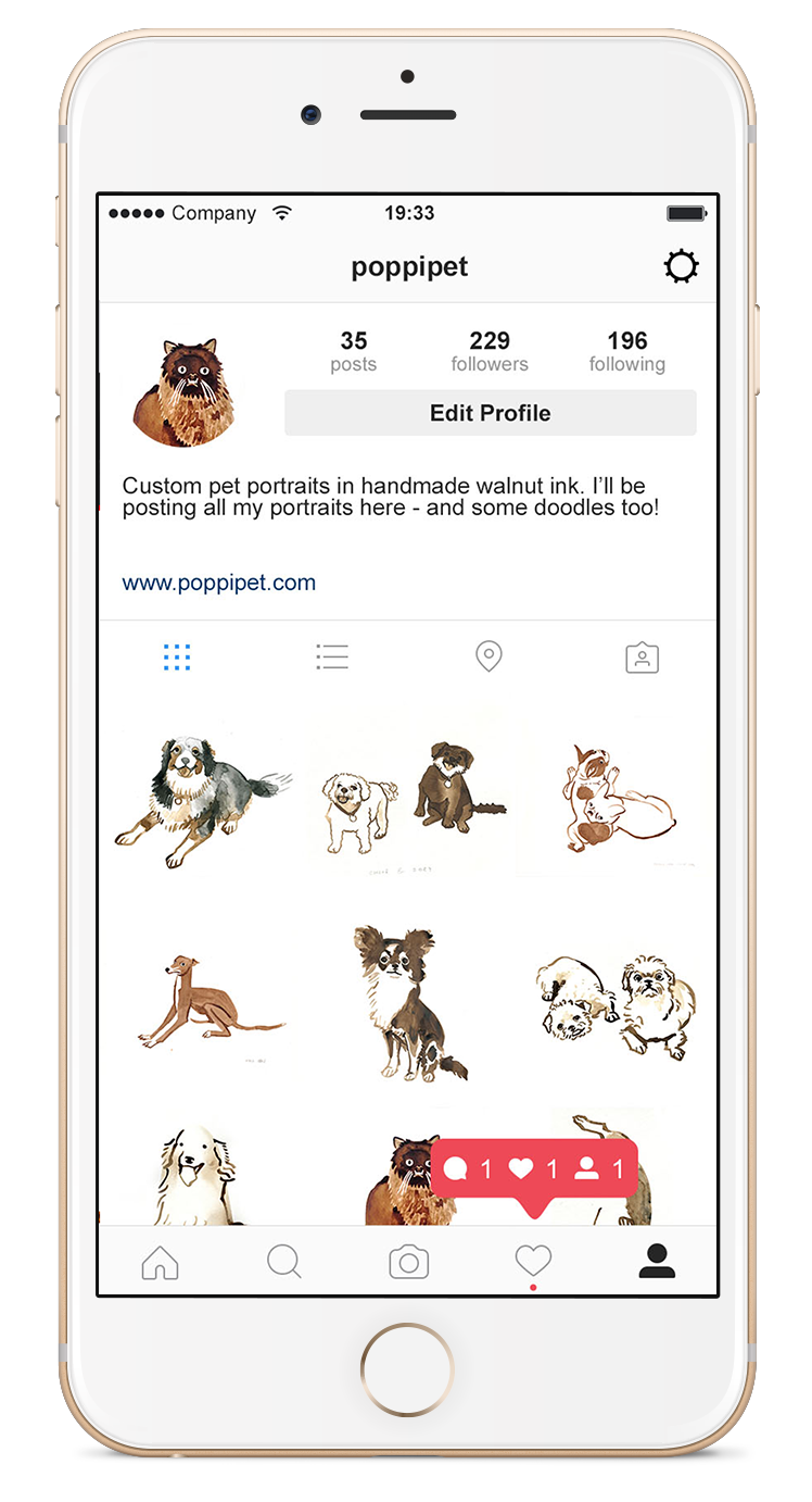 @poppipet - All my portraits are featured on my @poppipet instagram account. I also create portraits of instagram celebrity pets - a great way to drive some traffic!