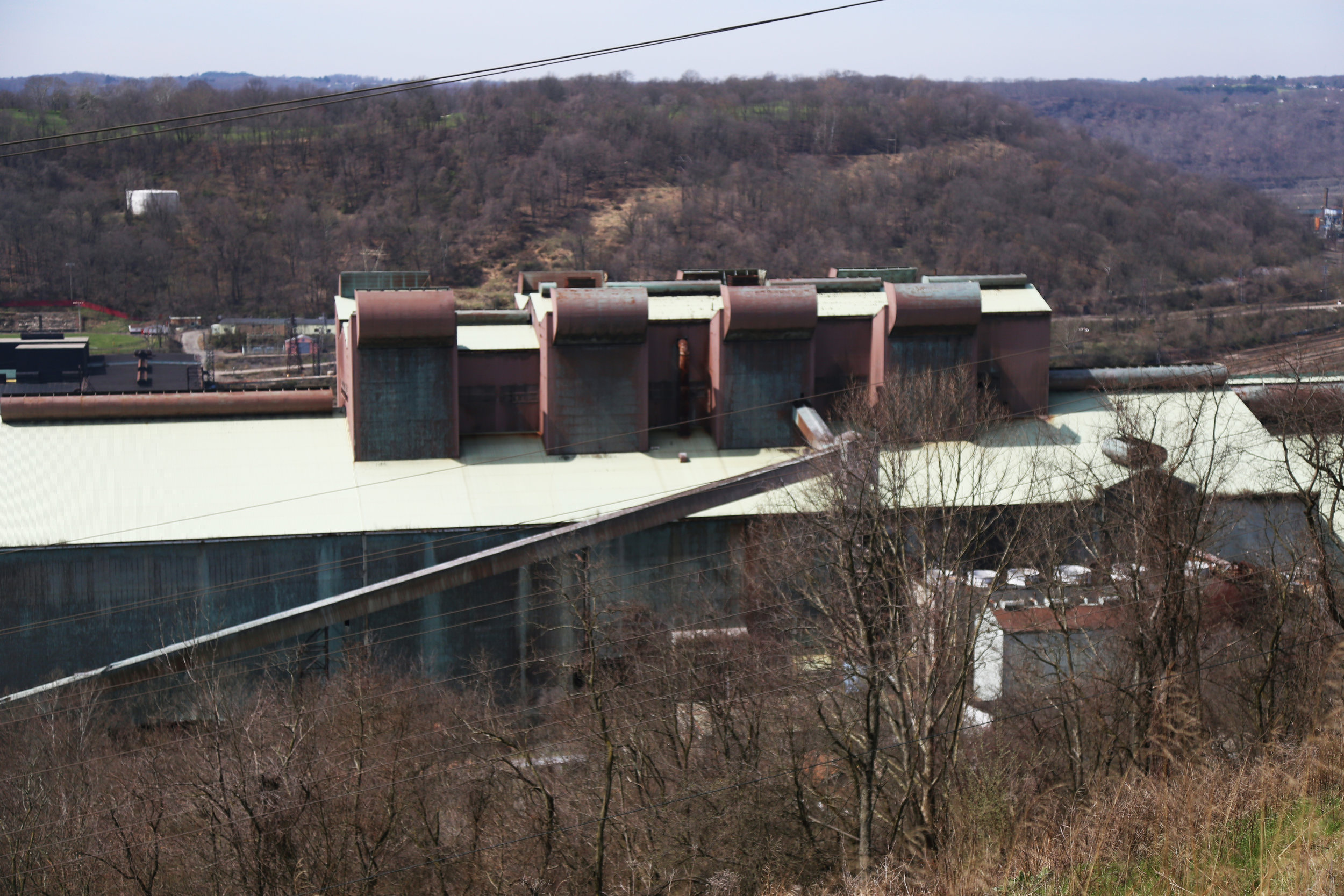 An aerial view of the closed part of the steel mill. Weirton Steel officially declared bankruptcy in 2003 and has been downsized several times since then.