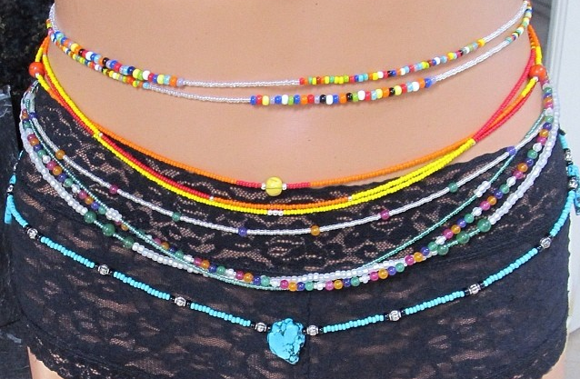 You can wear your wasitbeads at various positions around your waist and hip