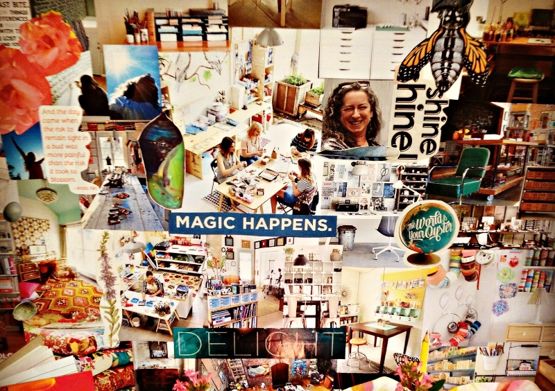 This was the dreamboard collage I created when i wanted to manifest my art teaching studio. Believe it or not, I moved into Unfold Studio only a few months later!