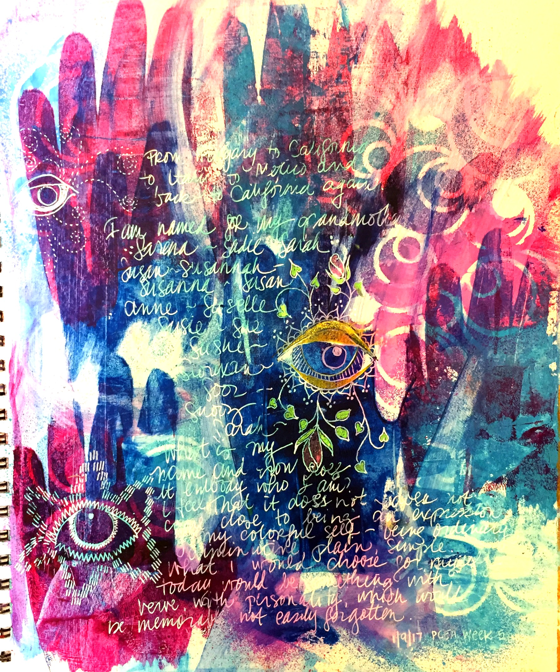 """art journal page: """"My Name"""""""
