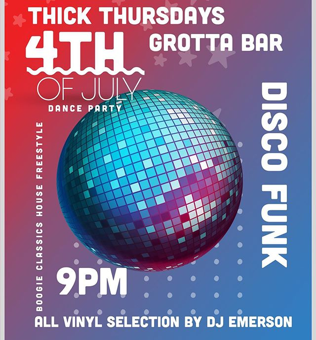 This Thursday pledge allegiance to the funk at Grotta bar @local186 THICK Thursdays 4th of July edition with myself at the consoles playing Paradise Garage classics and other national treasures in all wax format. Cocktails that will make you stand up and salute by @__that__lesbian. Starting early at 9 to catch your drunk ass out there right after the fireworks.  THICK. @fred_swayze @orianamco @guiyingling