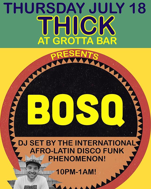 "Tell your friends! This Thurs night at Grotta Bar at @local186 in Provincetown you can catch a rare, intimate set by the internationally renowned @bosqmusic for FREE. Bosq graces big stages at festivals etc throughout Europe the US and the mundo Latino but because he is Cape Cod boy he offered to come sit in at @fred_swayze and my THICK dance party.  Bosq's first 12"" single on his own Bacalao record label, an Afro-funk interpretation of Fatback Band's ""Backstrokin'"" has become a huge record of the Summer, getting spins all over from some of the best DJs in the world. And that's right: you can see him play in Ptown this Thurs from 10-1AM, unbelievably, on the same night that our town is also welcoming Horse Meat Disco. Is this the beginning of a resurgence of good dance music in Provincetown? Come get down this Thurs and get acquainted with Bosq at THICK!"