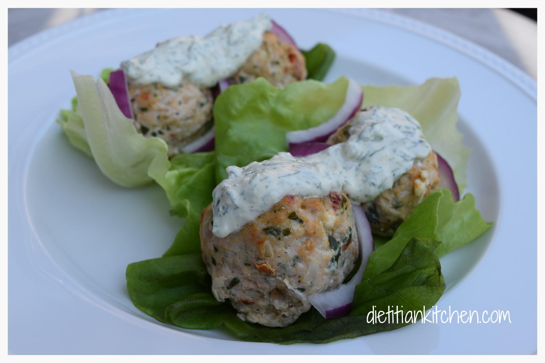 Turkey Lettuce Wraps with Fresh Tzatziki Sauce