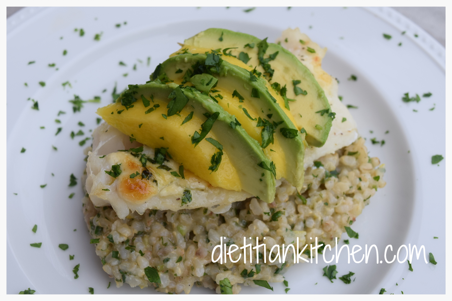 Baked Cod with Mango & Avocado Slices and Lemon Parsley Risotto