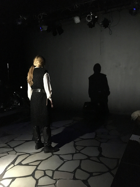 Angela Pirko (Macbeth) in rehearsal.