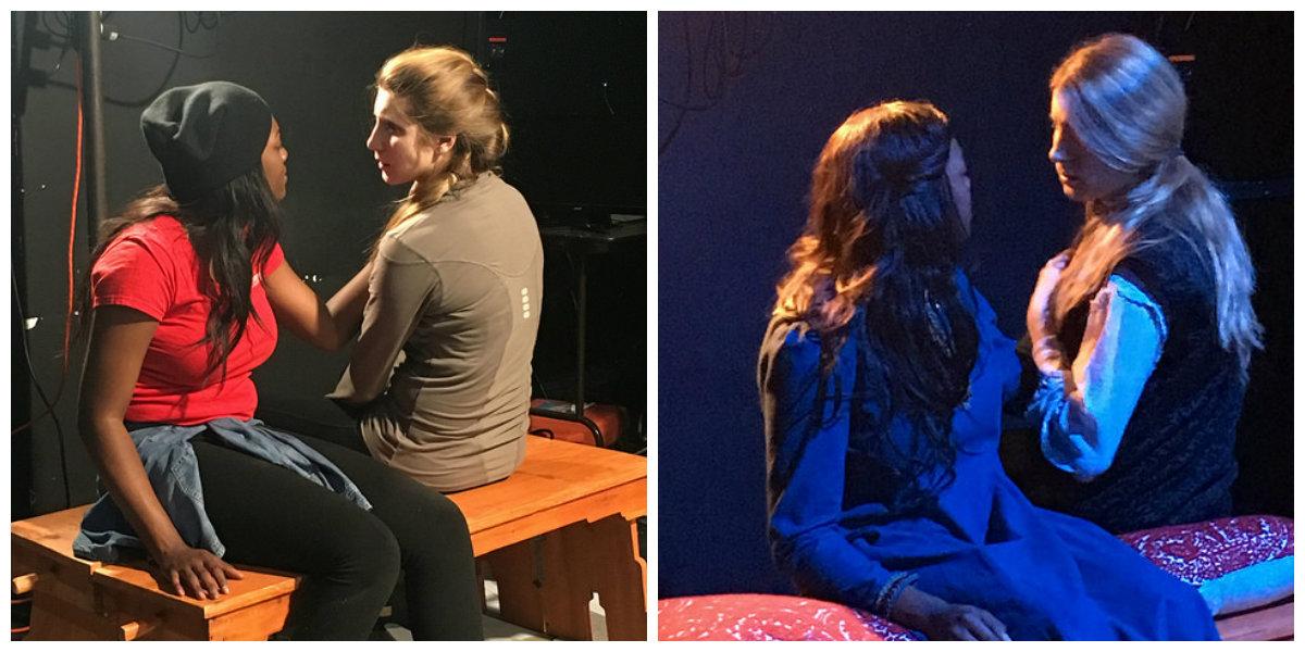 Renea Brown (Lady Macbeth) and Angela Pirko (Macbeth) in rehearsal.