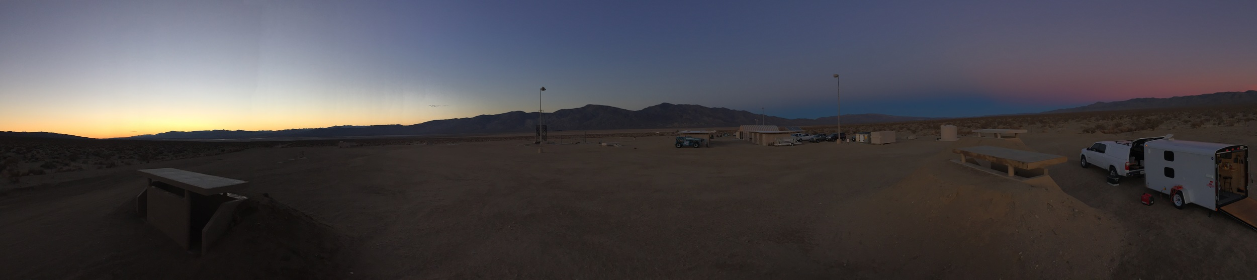 A beautiful sunset panorama of the FAR our side of the surrounding lake bed.
