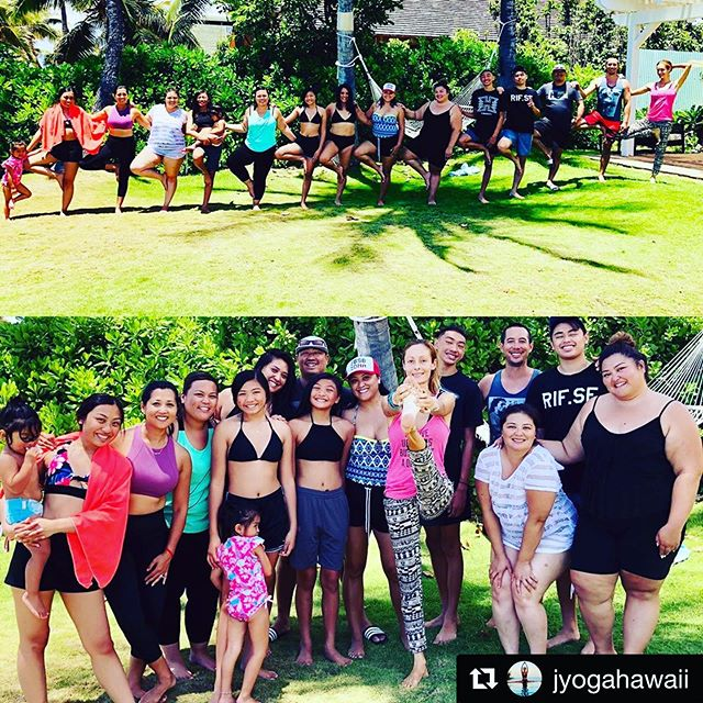 We ❤️ Yoga! . 😊Thank you yogis for practicing with us and our fabulous yoga teacher Jenia @jyogahawaii 🙏🏽 . 🌺 Wishing everyone a Happy Aloha Friday 🕉 .  #Repost @jyogahawaii with @get_repost ・・・ Last day of yoga today with this cool family. Flo Yoga Hawaii rocks. Working with your company is always such a wonderful experience.🦋💚❣️