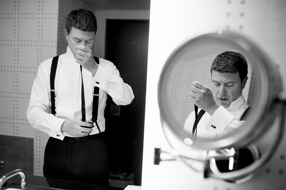 Groom gets ready at the Liberty Hotel, Boston