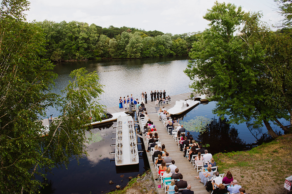 Outdoor ceremony at Harry Parker Boathouse