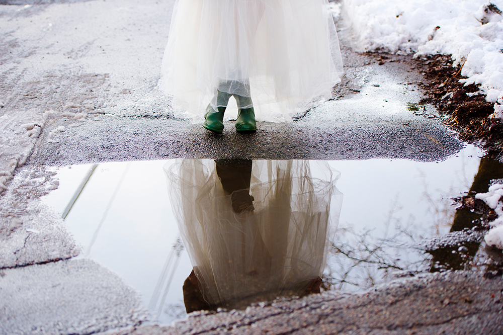 Bride in Hunter boots