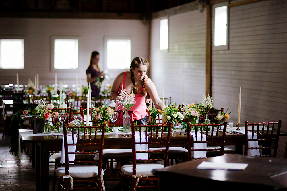 Caterer setting up for reception at Gedney Farm