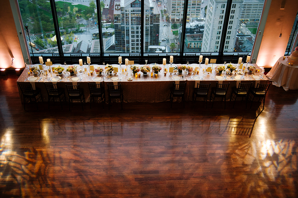 Table setting for a wedding at the State Room, Boston