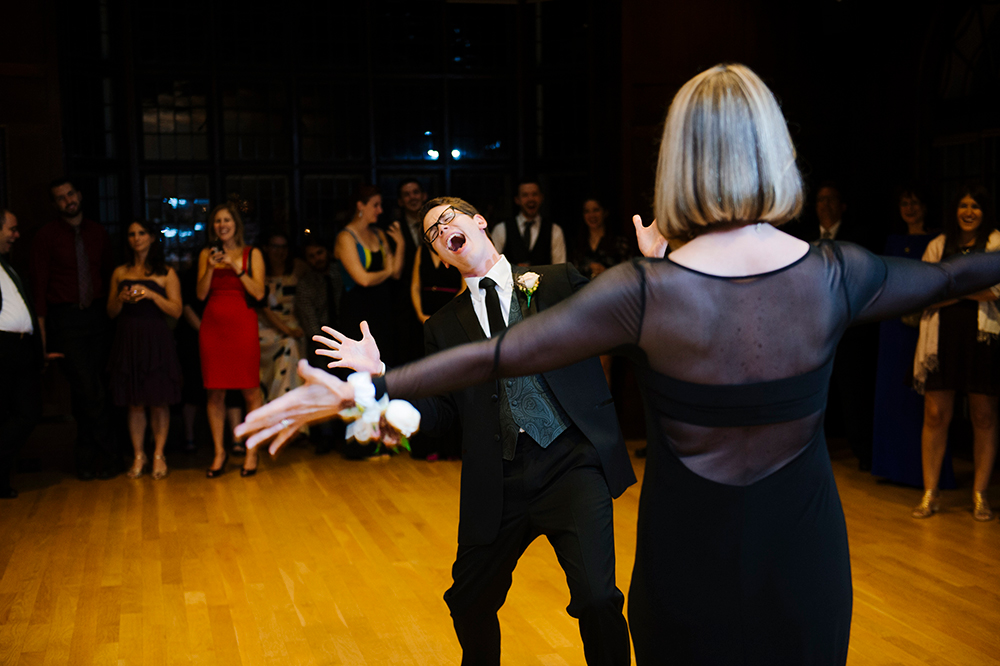 Mother and son dance at wedding at the Connors Center, Dover