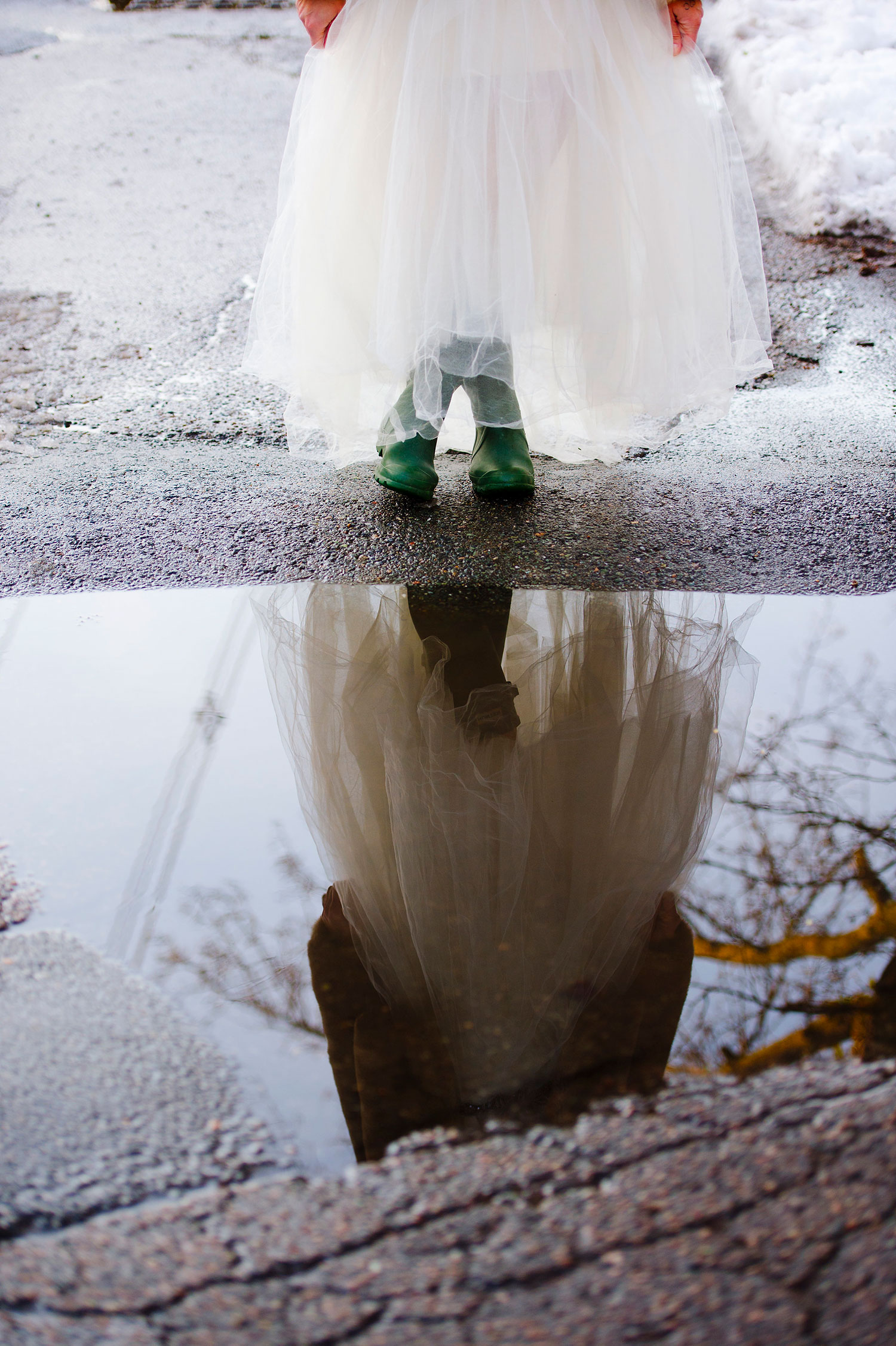 Boston city wedding on a rainy day