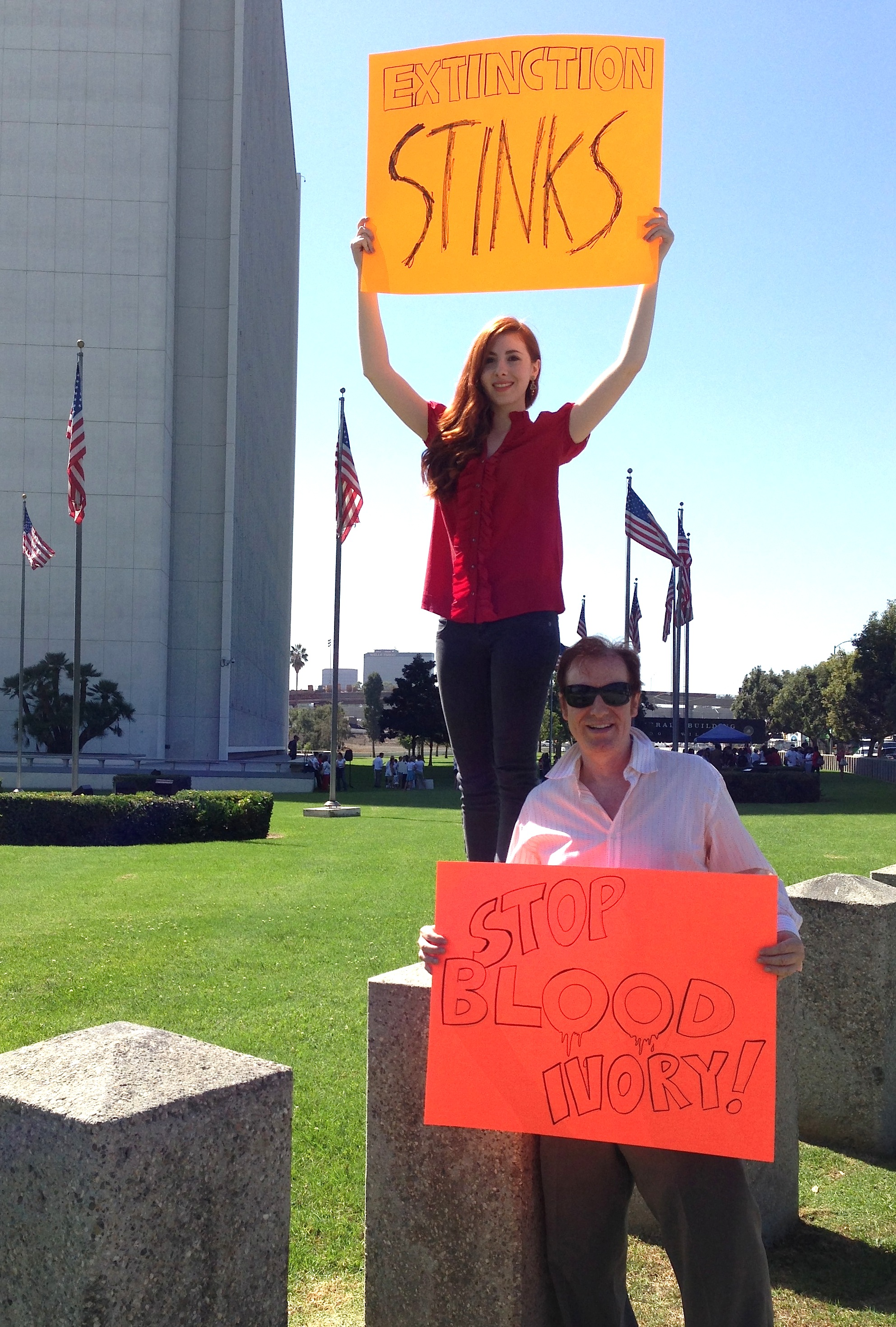 Huxleys do a media appearance at LA Federal Building March For Elephants