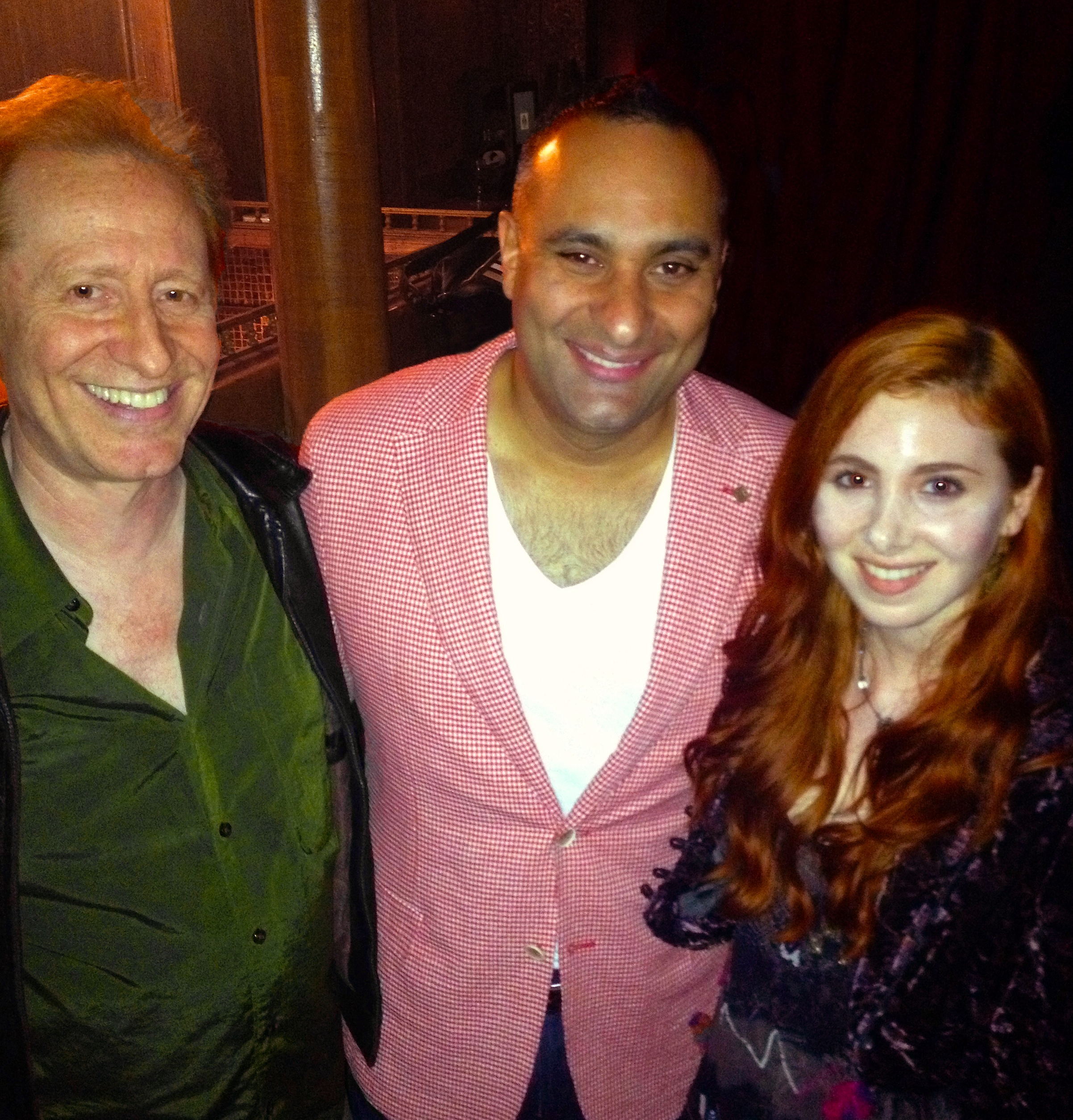 Comedian Russell Peters backstage at charity performance with Huxleys