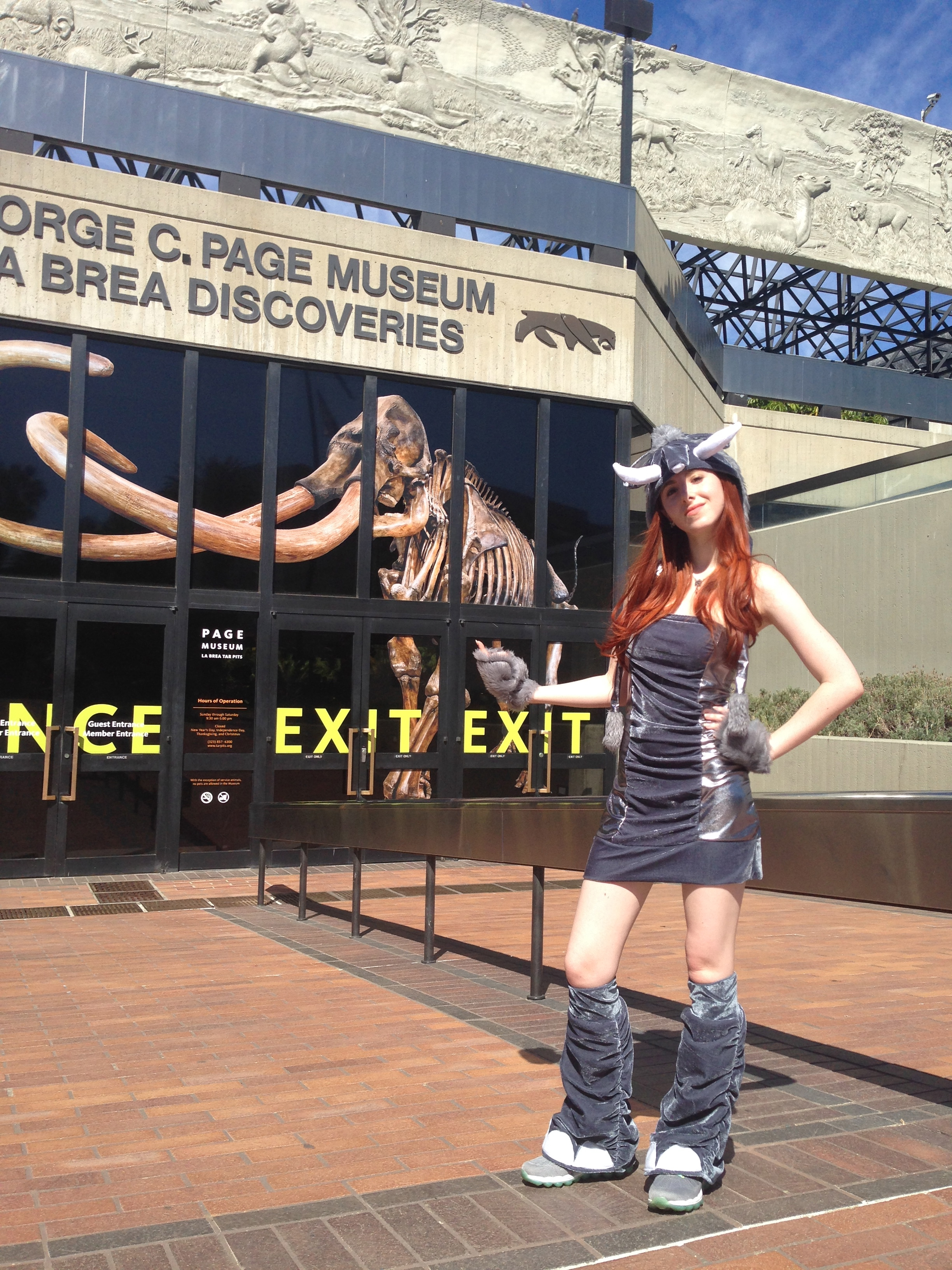 Fiona with Elephant cousin, Woolly Mammoth at the La Brea Tarpits March For Elephants