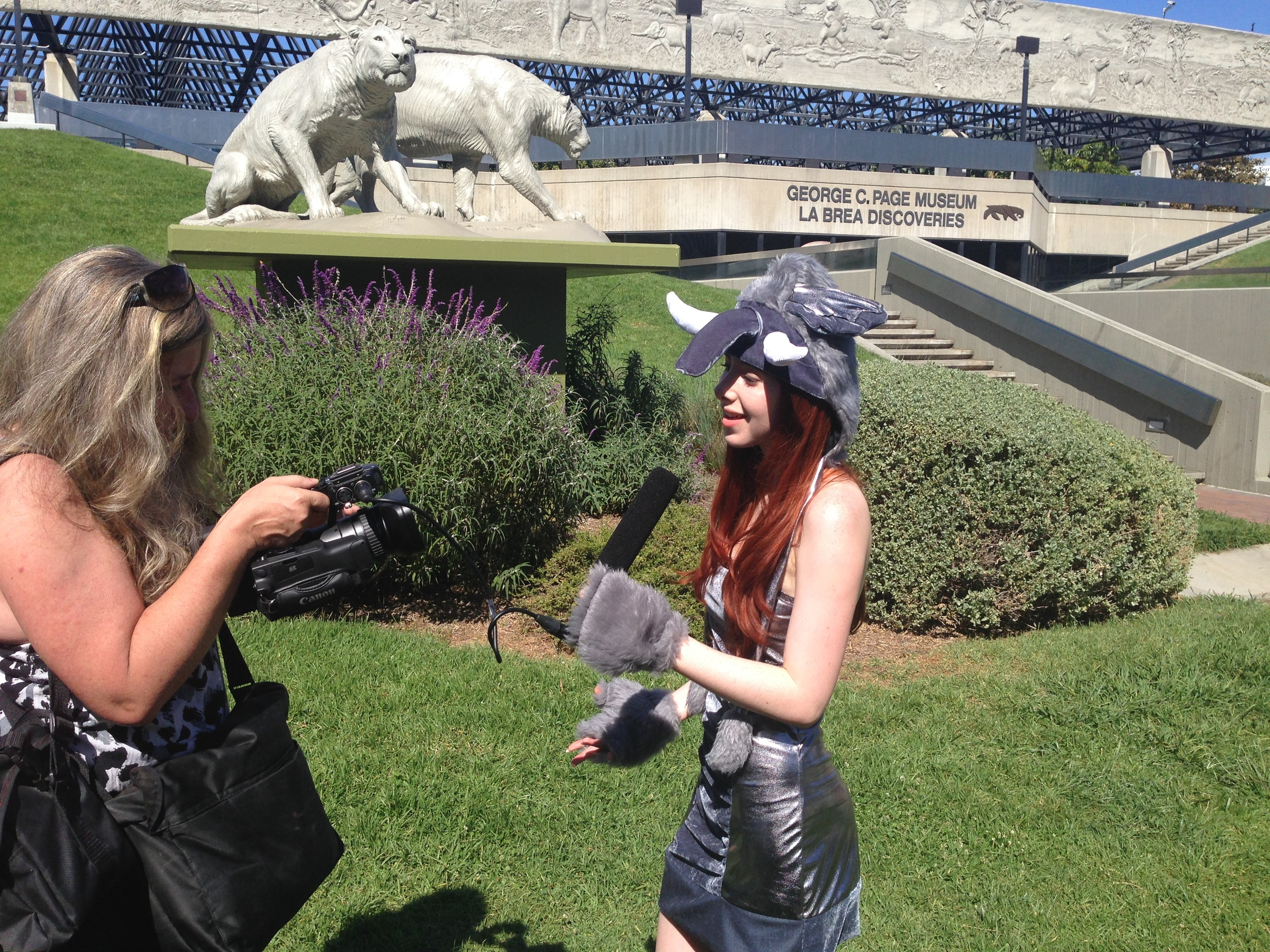 Fiona being interviewed at the La Brea Tarpits March For Elephants