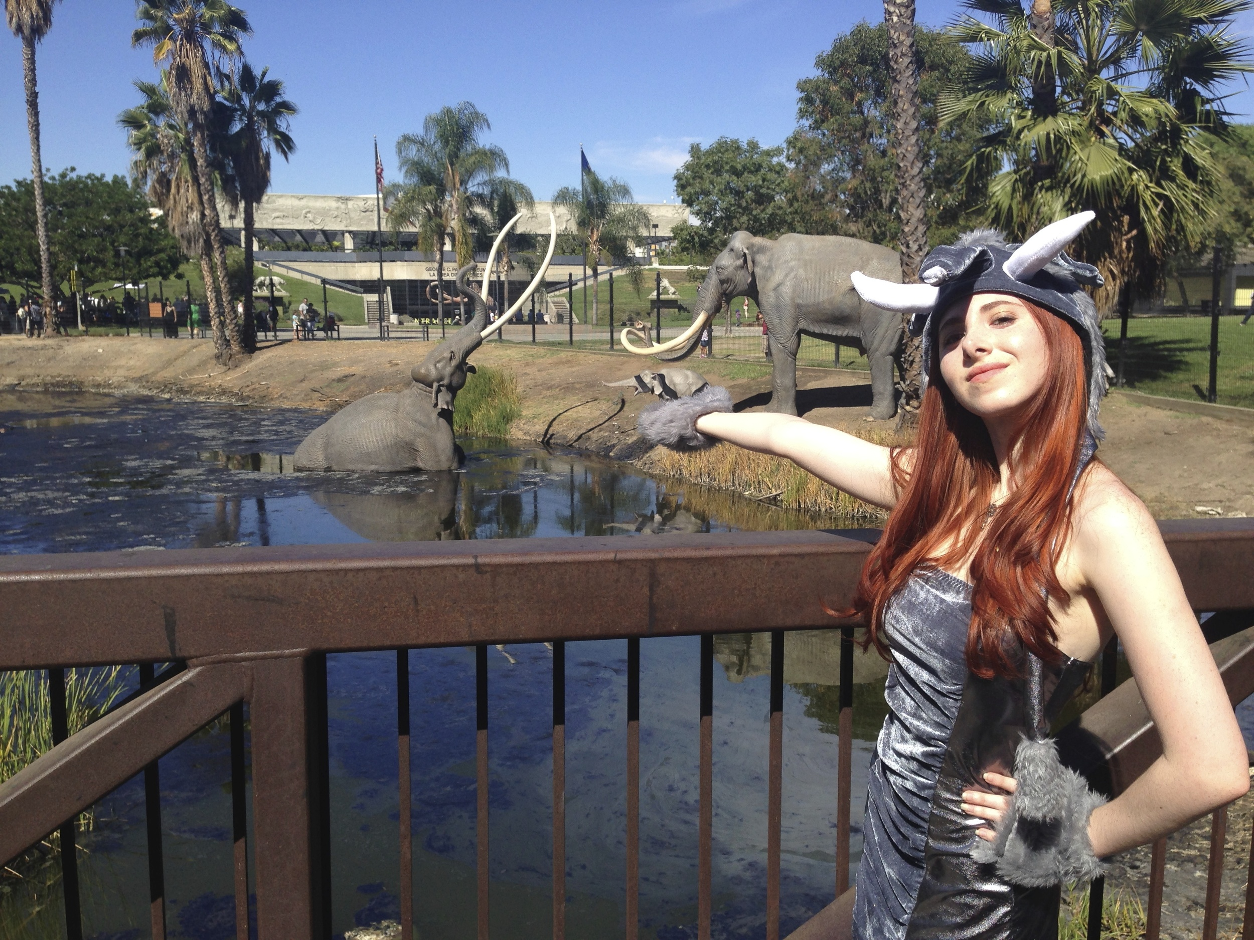 Fiona in elephant costume at the La Brea Tarpits March For Elephants