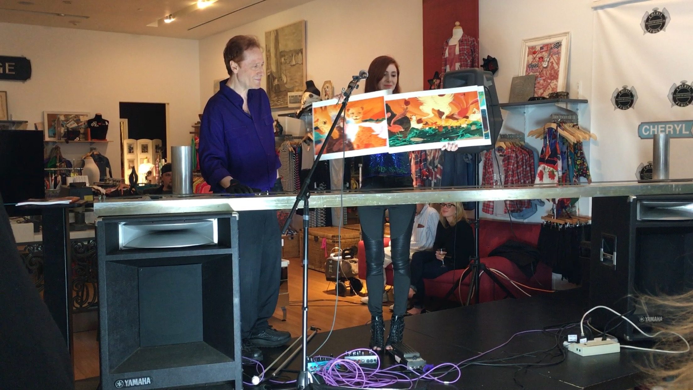 Fiona shows illustrations from her elephant children's book
