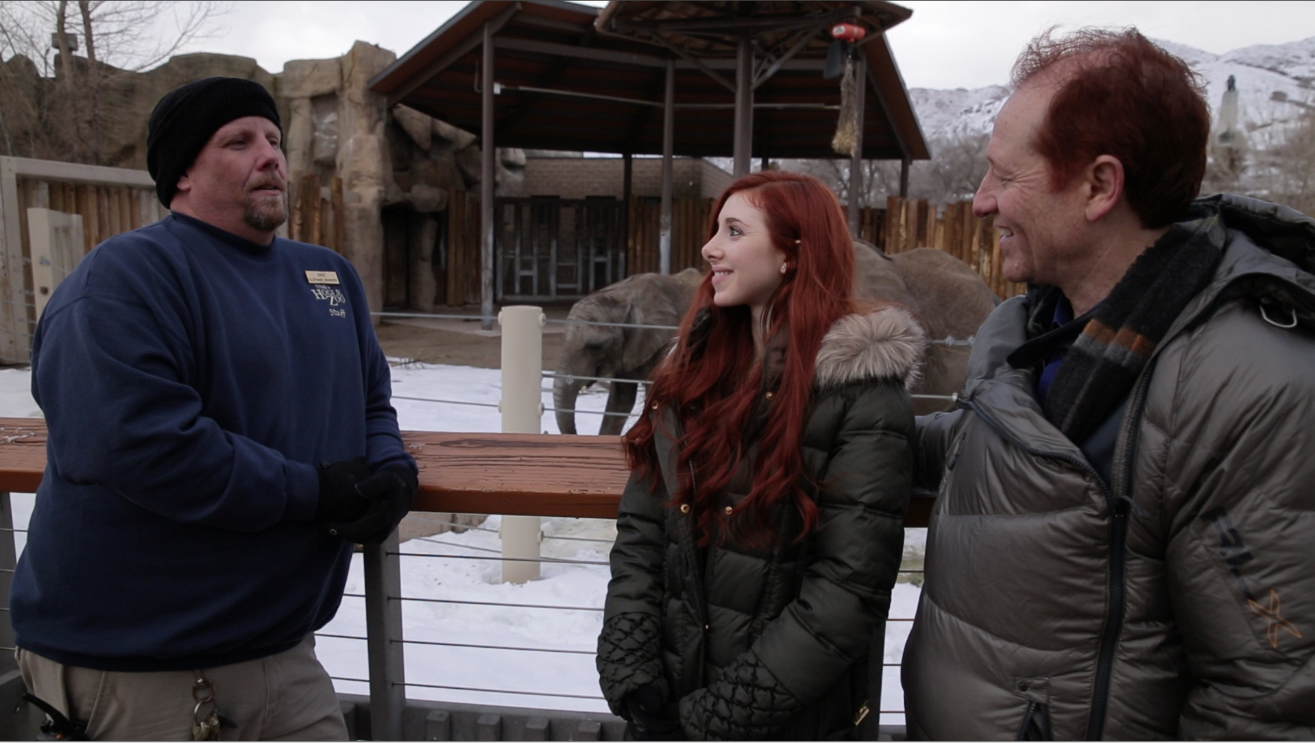 Team Huxley with Eric Peterson, Elephant Manager at Hogle Zoo in Salt Lake City, UT.   Huxleys participating with elephants and researchers for an answer to cancer.