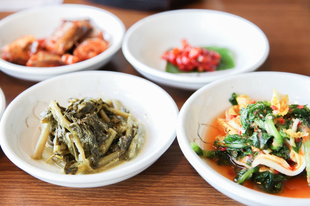 Only a small handful of many banchan.