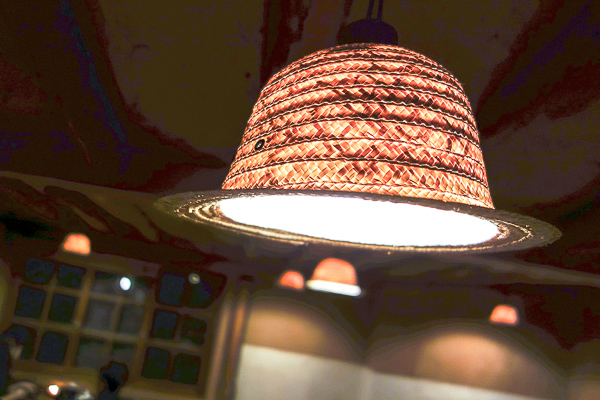 Wherever you go within Bonjour, the lights are made of straw hats.