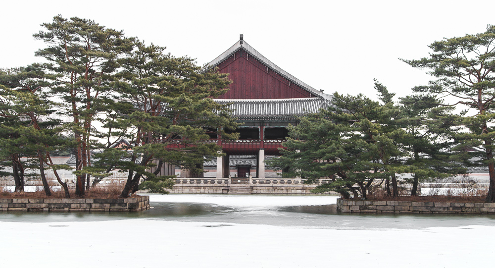 Gyeonghoeru Pavilion in winter.