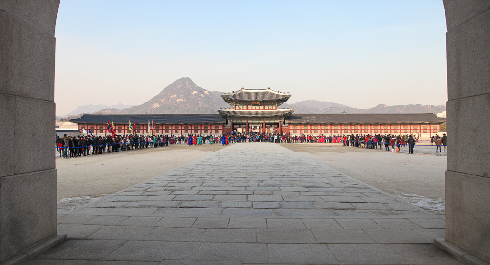 Standing in the middle arch of Gwanghwamun where the king once walked, looking towards the first inner gate Heungnyemun.
