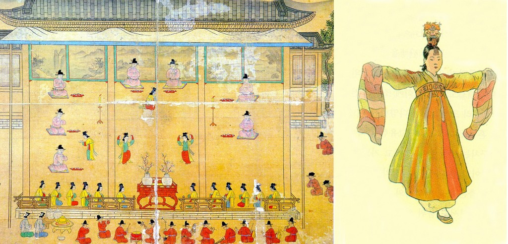 Left: Kisaeng performing at the court of King Seonjo. Right: close-up of palace kisaeng in dance attire.