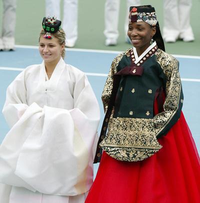 Tennis players Maria Kirilenko and Venus Williams