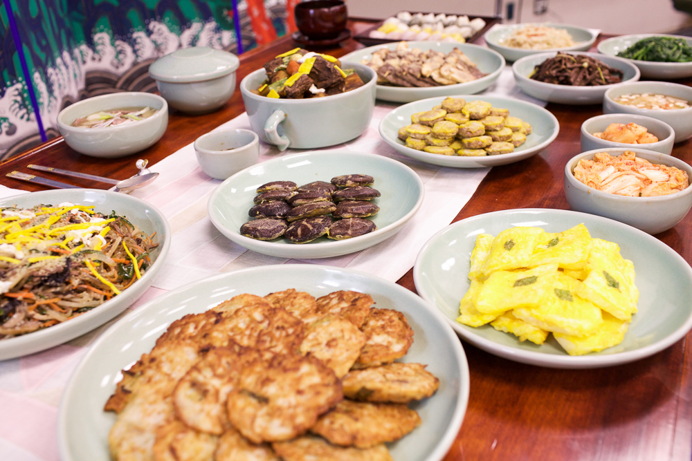 It takes much effort and time to prepare a table of Korean food. Chang used the whole weekend to create this colorful feast.