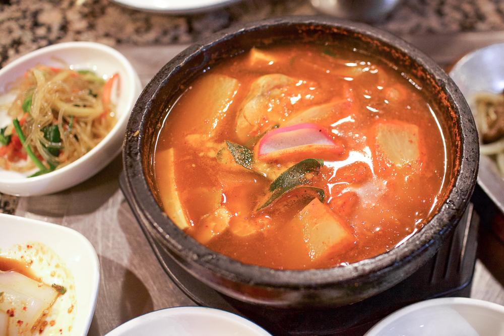 Maeuntang. Spicy fish soup made with gochujang.