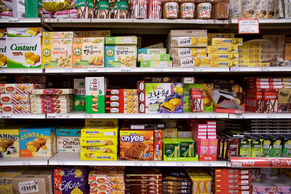 "Korean snack section that inspires me to film more episodes of ""Snack Tub Korea."""