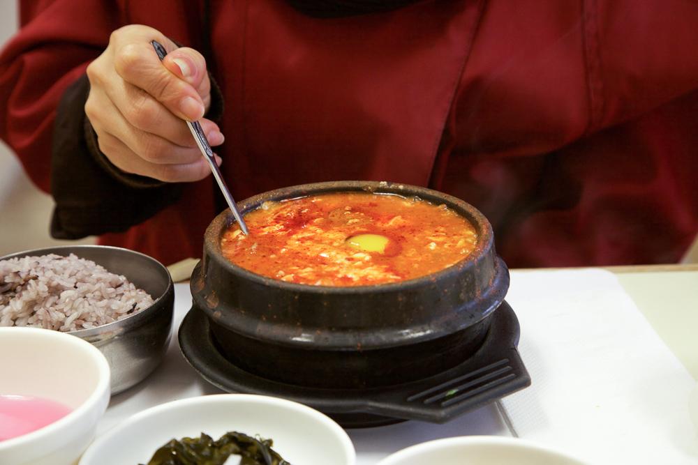 Mushroom soondubu (tofu soup).