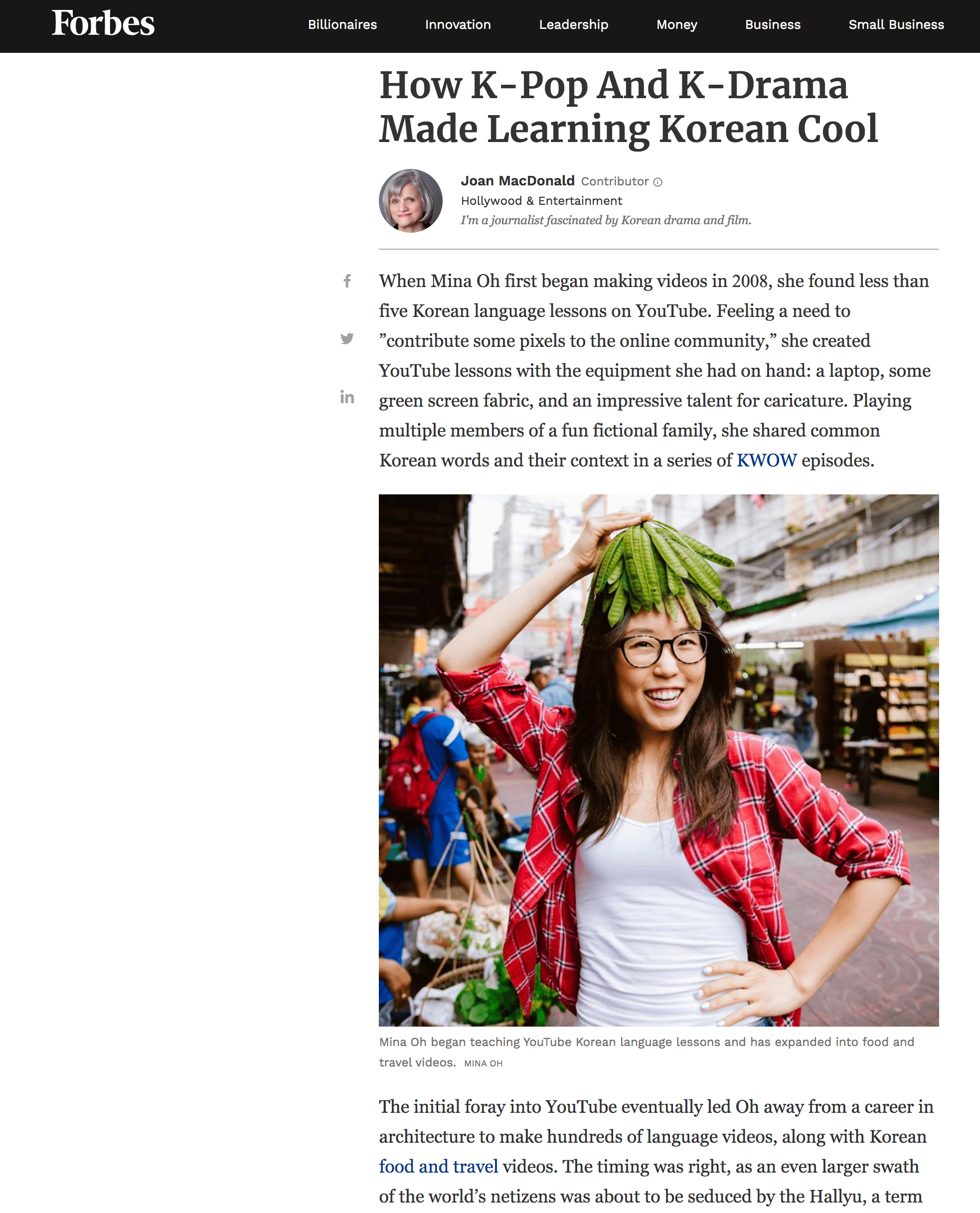 Forbes Interview - Featured on Forbes article about K-Pop, K-Drama and Korean Language.