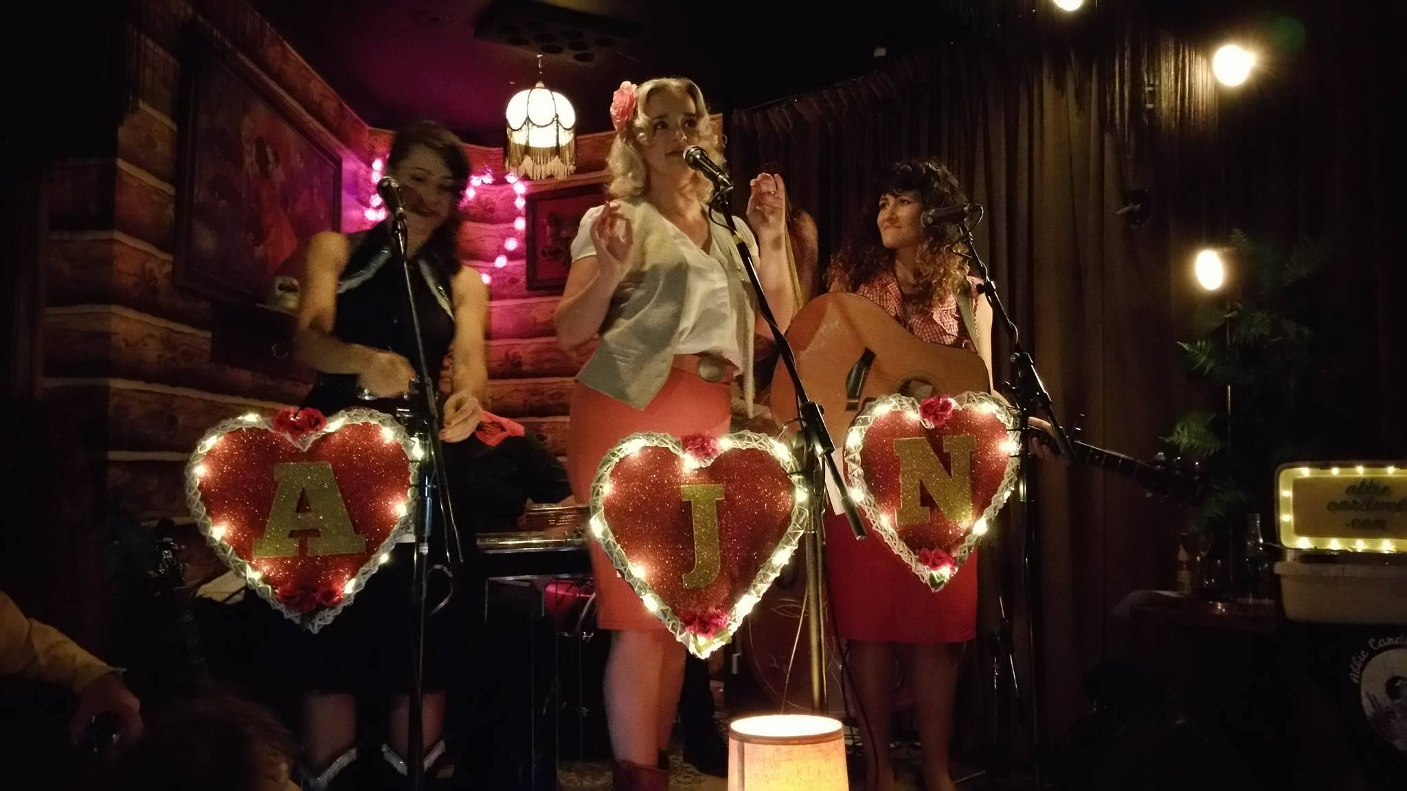 Abbie Cardwell, Jen Mize & Nicole Brophy at The Junk Bar in three part harmony for the Valentines Honkytonkin Heartbreaker Show 2016