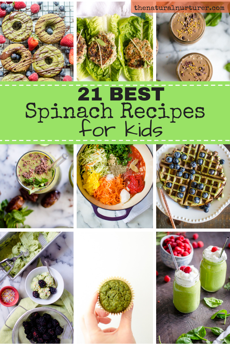 These 21 kid-approved spinach recipes are going to be  total game changers in your home! Easy peasy to make for busy folks and presented in creative ways to prevent this nutrient dense veggie from getting boring. This list has spinach-packed recipes for breakfast, lunch, dinner and even dessert!  #veggieloaded #glutenfreerecipes #healthykids #healthyfamilyrecipes