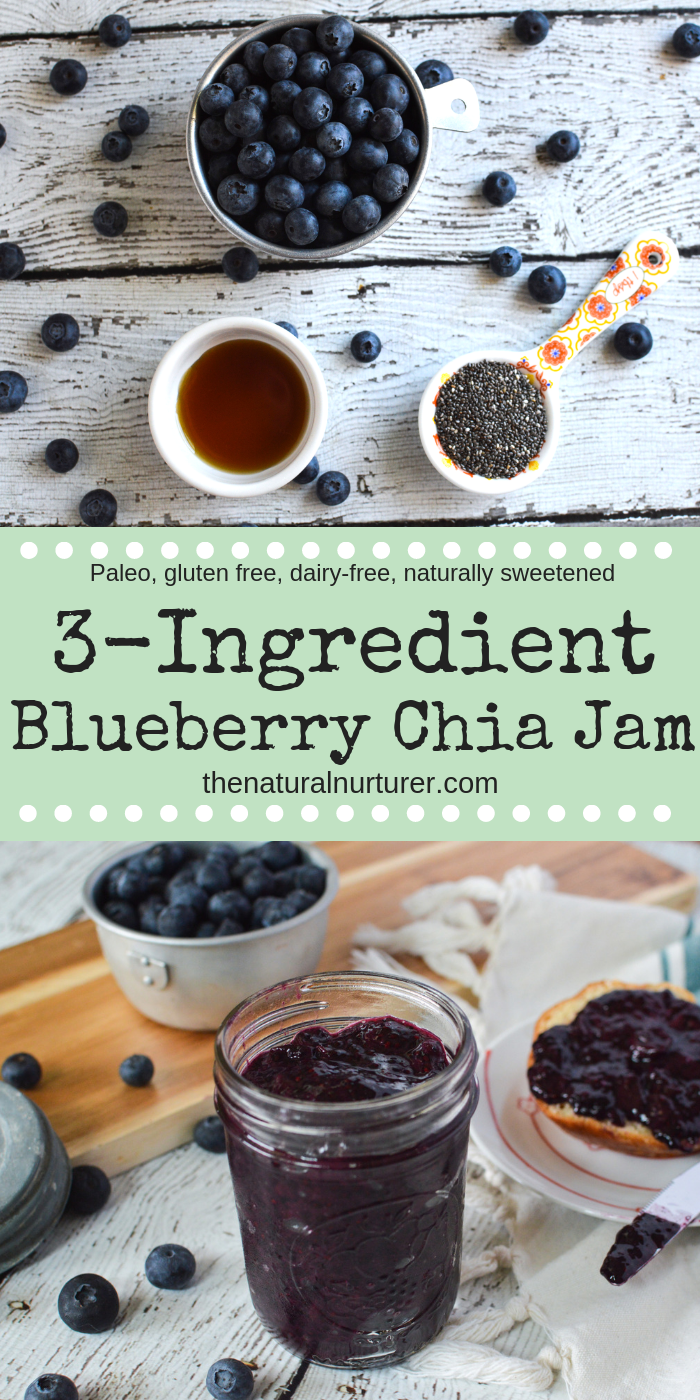 3 Ingredient Blueberry Chia Jam is easy to make, tastes delicious and much lower in sugar than most store bought jams and jellies! #easychiajam #homemadejam #healthyjam #veganjam