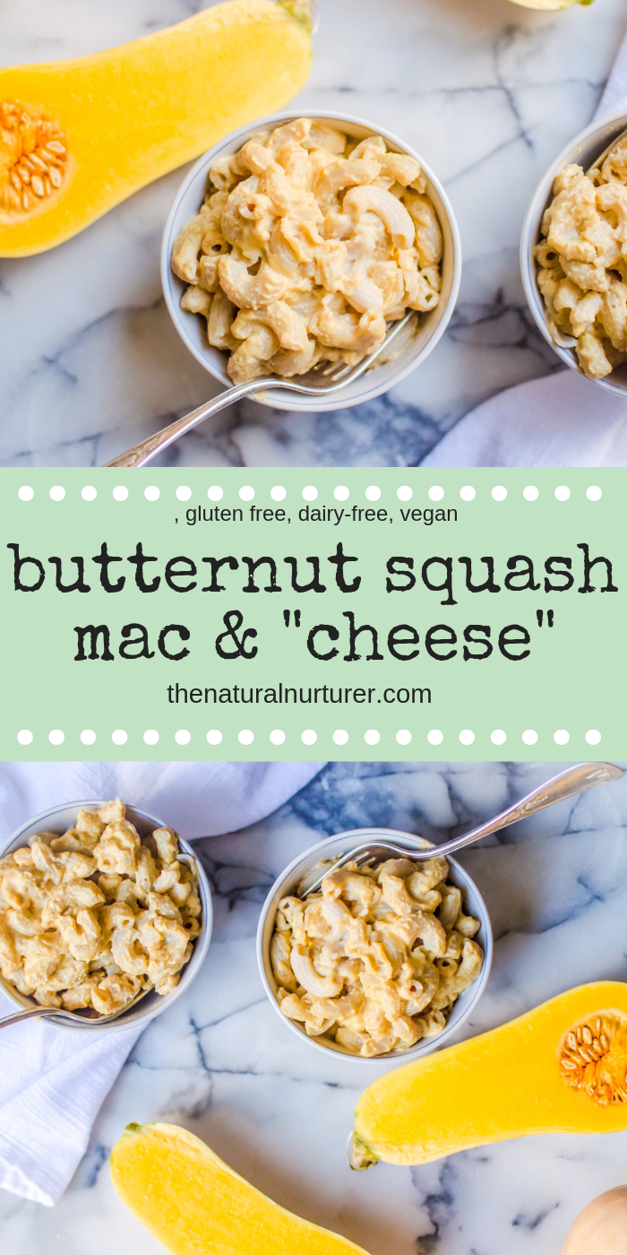 "All the deliciousness of mac and cheese, but without the dairy! Butternut Squash Mac & ""Cheese"" is a quick, healthy and veggie-loaded twist on my personal favorite comfort food. #butternutsquashrecipesforkids #veggieloaded #healthymacandcheese #healthykids"