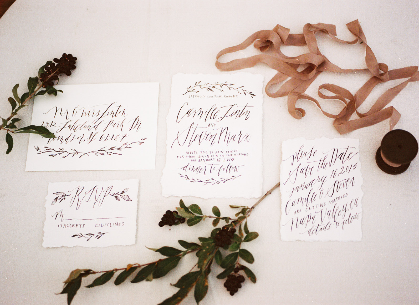 Organic Calligraphy by Annie Mertlich | Photo by Mary Claire Photography