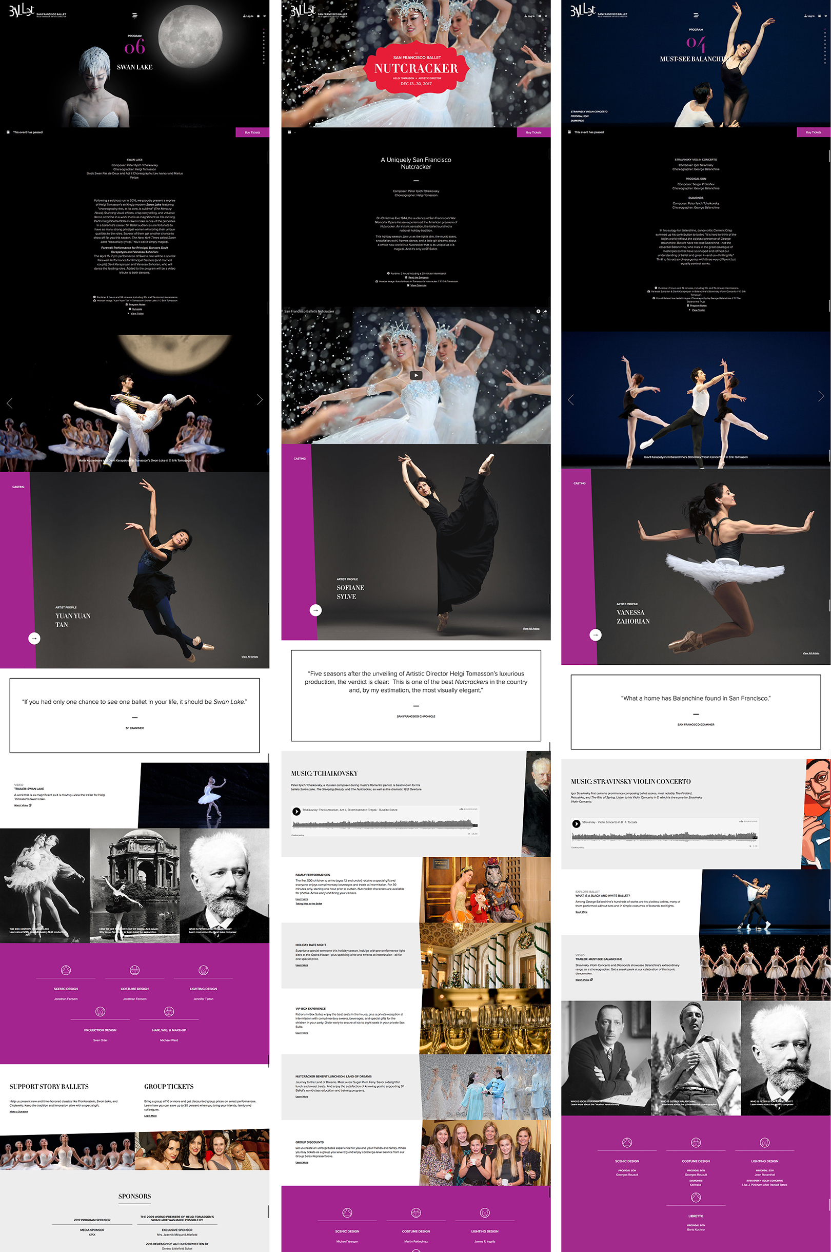 Modules used by SF Ballet to create performance detail pages, providing deeper context & driving ticket purchases