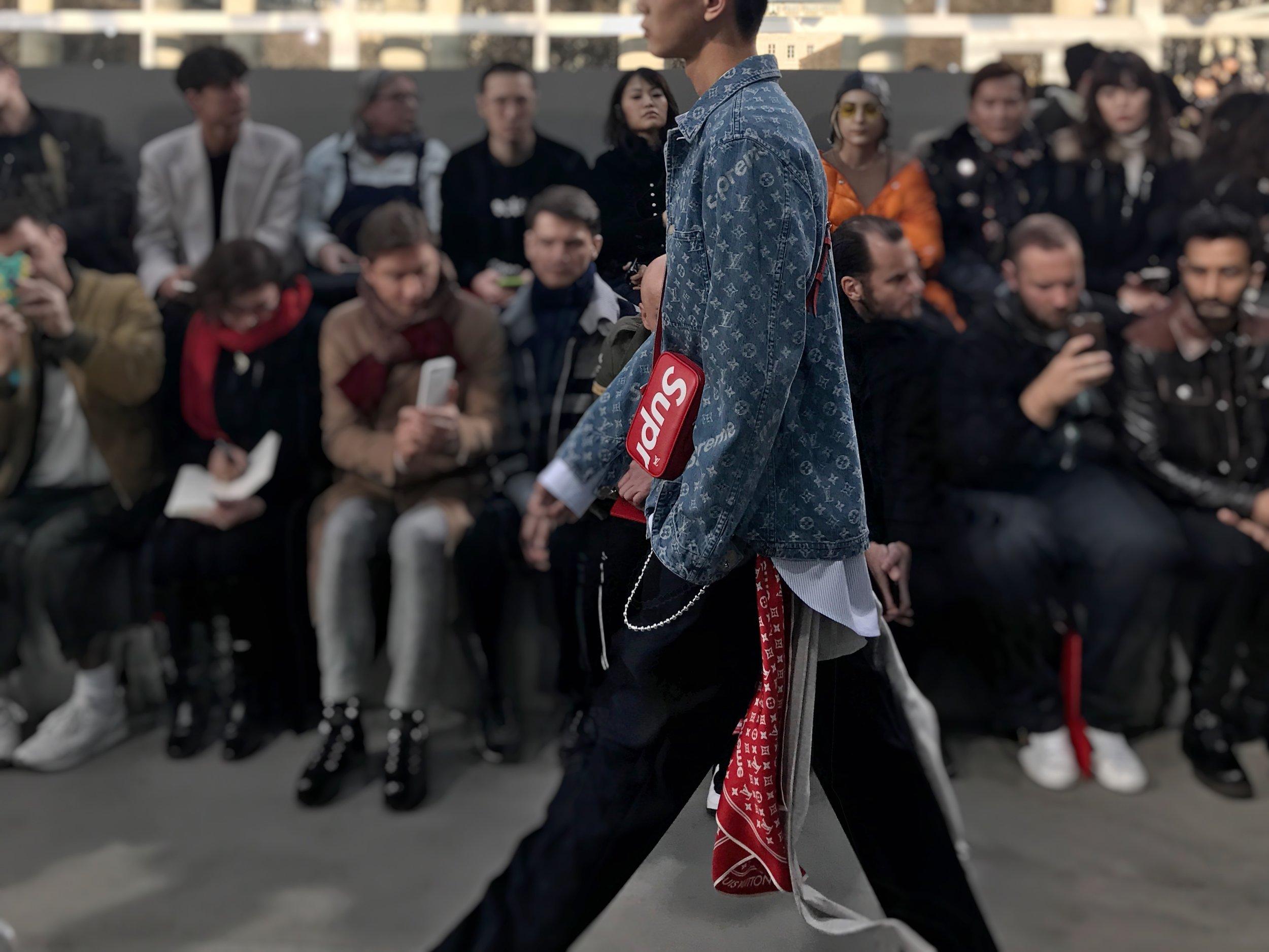 #C1PICK denim jacket, body bag and scarf