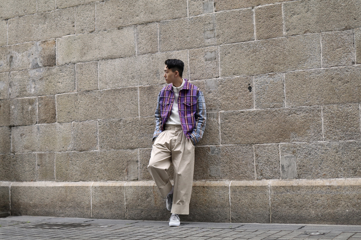 JW Anderson jacket and pants, A.P.C. zipped jumper from ITHK, Vans Old Skool