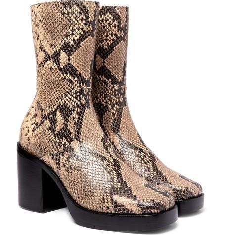Snake-effect mens platform boots